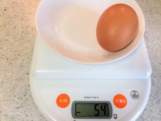 Sサイズの卵の重さ